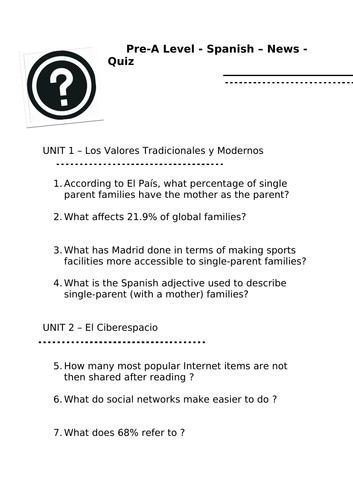 Pre A Level Spanish Tasks