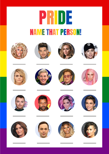 Pride Month LGBTQ Game / Quiz Sheet and Answers - Can you name that person?