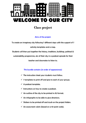 Proyecto grupal 'Bienvenidos a nuestra ciudad' - 'Welcome to our city' group project for KS3 and KS4