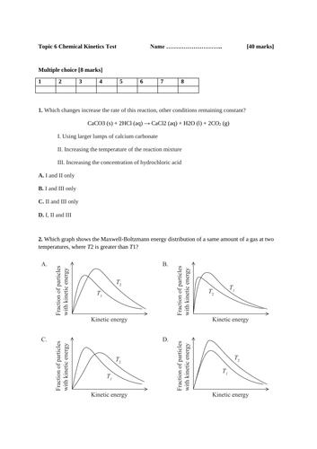 IB DP Chemistry SL-Topic 6-Chemical Kinetics -Test and Mark scheme.