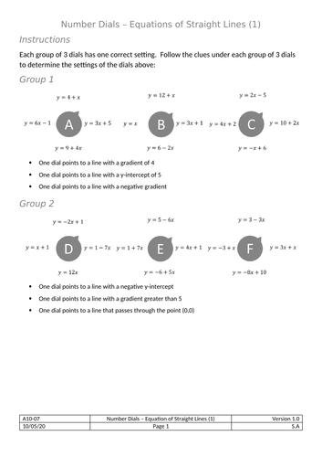 Dials - Equation of a Straight Line