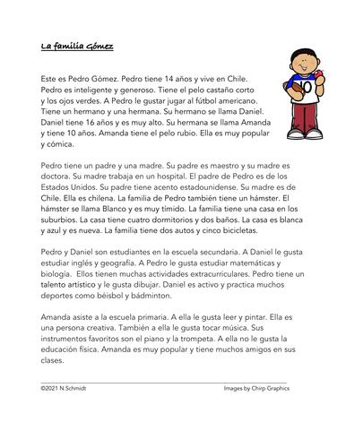 Spanish English Cognates Reading: Lectura con Cognados: La Familia Gómez
