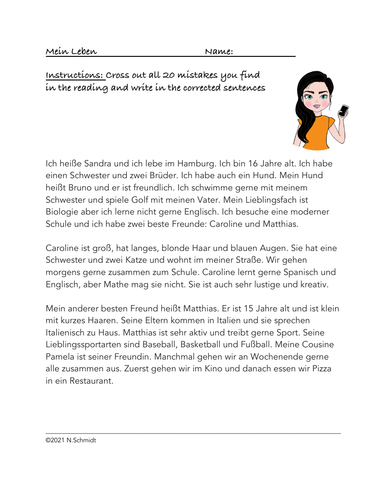 German Fix the Mistakes Reading: Cases: Accusative/Dative