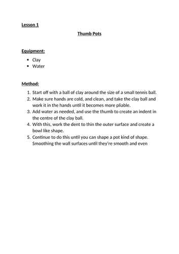 Ceramics Introduction -Lesson Guides
