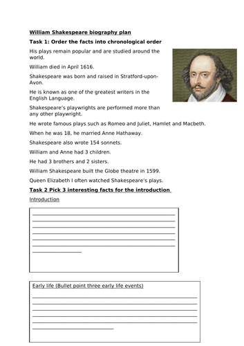 William Shakespeare biography writing plan