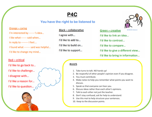 P4C Sentence starters mat