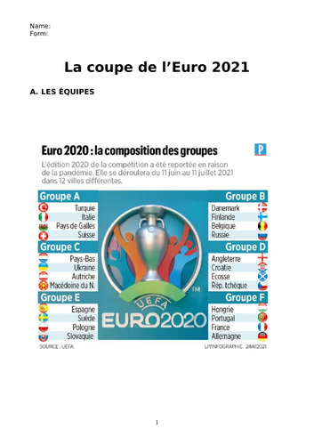 L'Euro 2021 French  booklet
