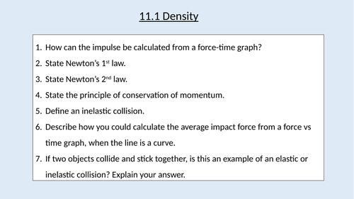 A level Physics (11.1) Density (Materials)