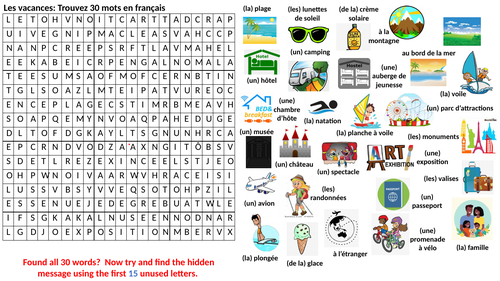 Bumper French Holidays Wordsearch