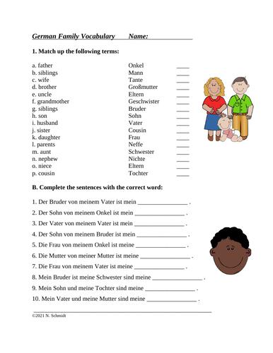 Die Familie: German Worksheet on Family Vocabulary