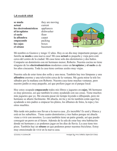 La Nueva Casa Lectura: Spanish Reading on Moving House (Rooms/Furniture)
