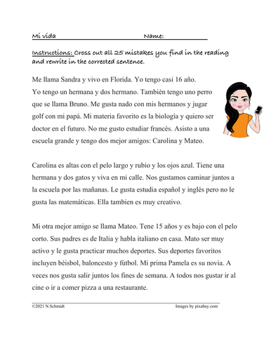 Spanish Fix the Mistakes Reading:  Present Tense