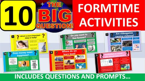 10 x The Big Question Form Tutor Time Thinking Skills Activity - Zero Preparation!