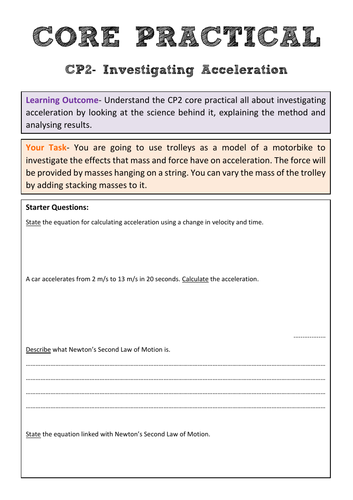 Edexcel CP2 Core Practical Revision- Investigating Acceleration