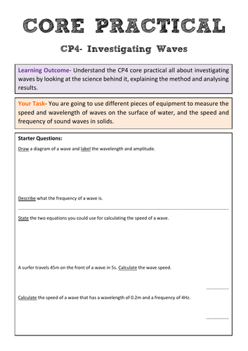 Edexcel CP4 Core Practical Revision- Investigating Waves