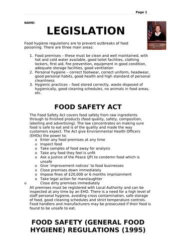 Legislation in the Food Industry