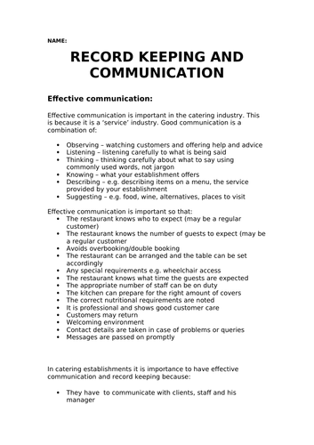 Record Keeping and Communication in the Food Industry