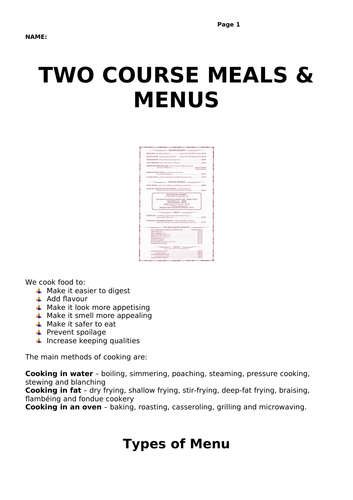 Two Course Meals and Menus