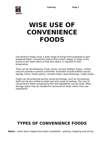 Wise Use of Convenience Foods