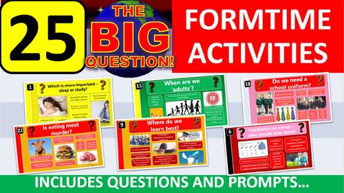 25 x The Big Question Form Tutor Time Thinking Skills Activity - Zero Preparation!
