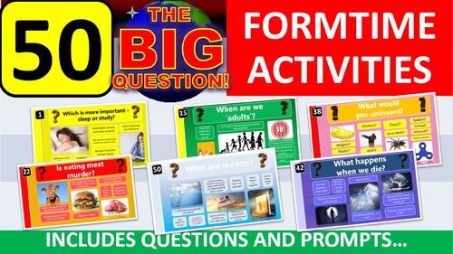 50 x The Big Question Form Tutor Time Thinking Skills Activity - Zero Preparation! Whole Year!