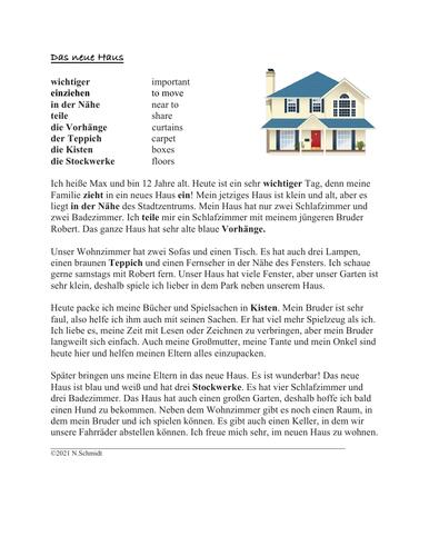 Das Neue Haus: German Reading on Moving House (Rooms/Furniture)