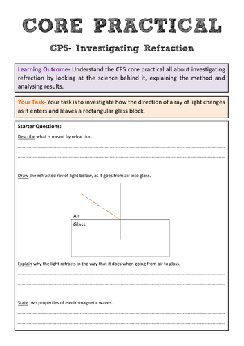 Edexcel CP5 Core Practical Revision- Investigating Refraction