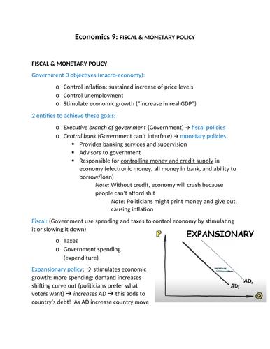 Economics 9: FISCAL & MONETARY POLICY
