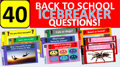 40 x Icebreakers Starter Questions Back to School Tutor Time Activity