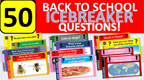 50 x Icebreakers Starter Questions Back to School Tutor Time Activity