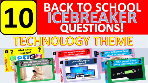 10 x Icebreakers (Technology theme) Questions Back to School Tutor Time Activity