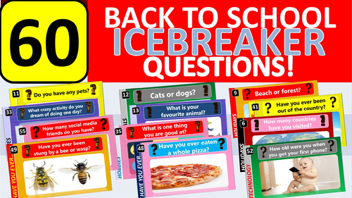 60 x Icebreakers Starter Questions Back to School Tutor Time Activity