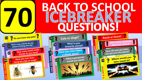 70 x Icebreakers Starter Questions Back to School Tutor Time Activity