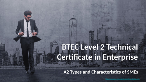 BTEC Level 2 Technical Award in Enterprise Component 1: Exploring Enterprise A2 SMEs
