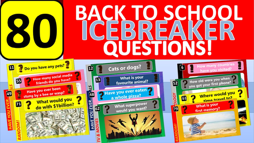 80 x Icebreakers Starter Questions Back to School Tutor Time Activity