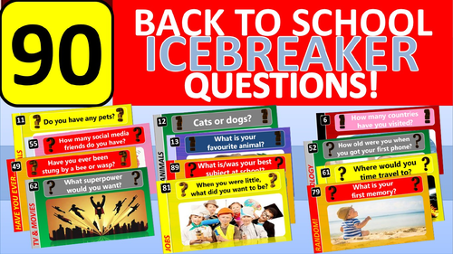 90 x Icebreakers Starter Questions Back to School Tutor Time Activity