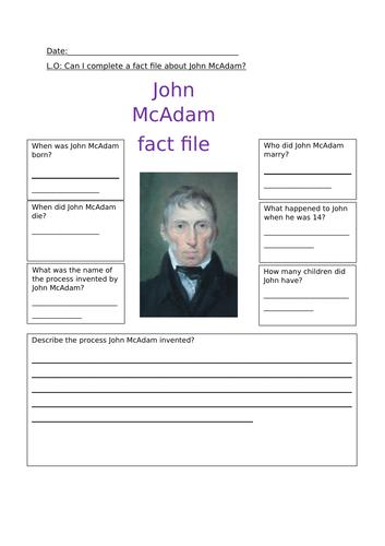 John Mcadam fact file worksheet and activity