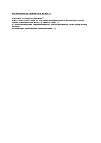 GRADE 9 - ISSUES OF HUMAN RIGHTS ESSAY ANSWER 5 - WJEC RS GCSE