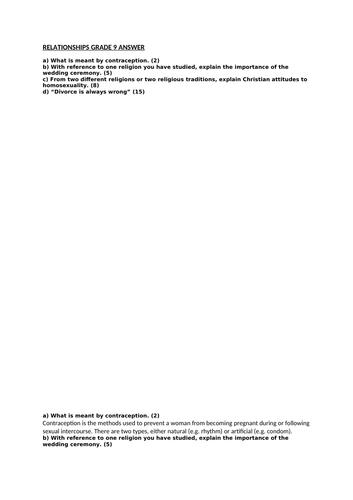 GRADE 9 - RELATIONSHIPS ESSAY ANSWER 2 - WJEC RS GCSE