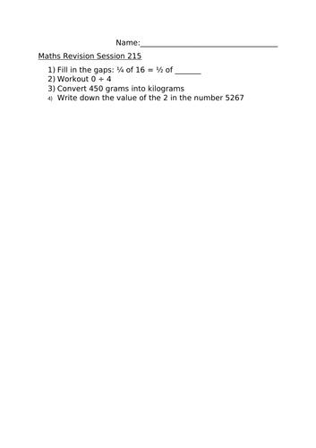 MATHS REVISION WORKSHEET 215