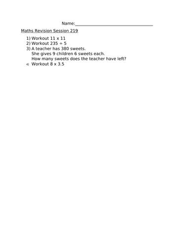 MATHS REVISION WORKSHEET 219