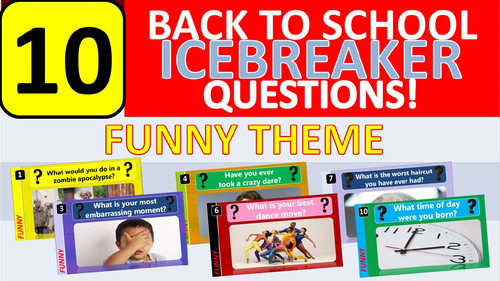 10 x Icebreakers (Funny theme) Questions Back to School Tutor Time Activity