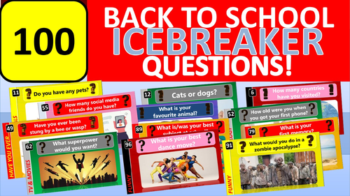 100 x Icebreakers Starter Questions Back to School Tutor Time Activity