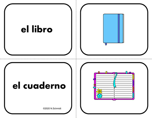 Spanish School Supplies / Back to School: 26 Flashcards (Memory/Matching Game)