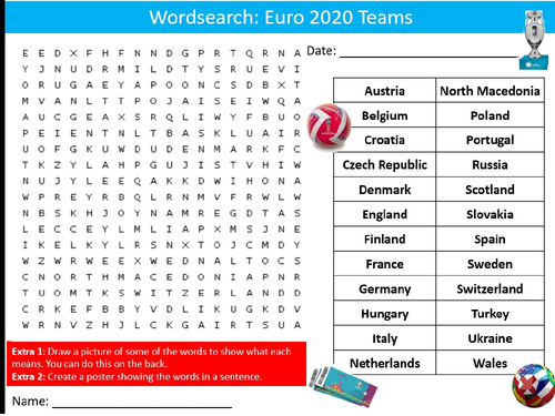 Football Euro 2020 Soccer Wordsearch Puzzle Sheet Activity Keywords PE Sports