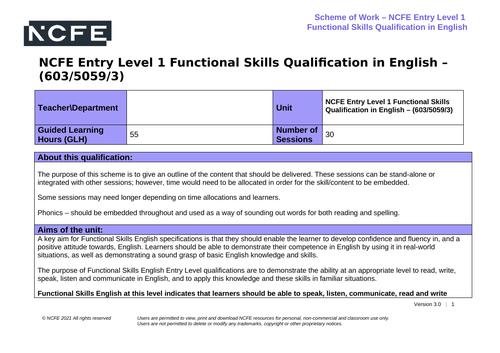 NCFE Functional Skills English Entry Level 1 Scheme of Work 603/5059/3