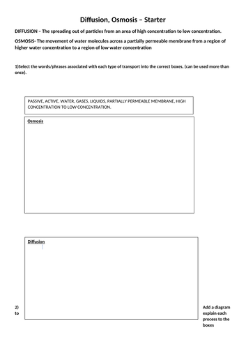 KS4 Science Cell Transport -  Diffusion, Osmosis revision worksheet.