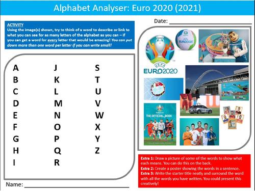 Football Euro 2020 Soccer Alphabet Analyser Sheet Activity Keywords PE Sports