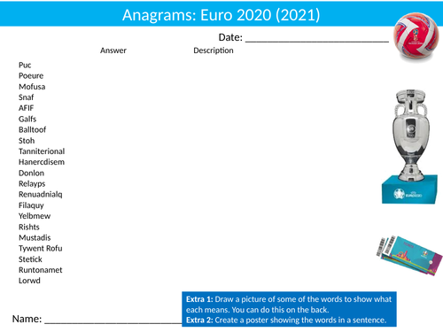 Football Euro 2020 Soccer Anagrams Puzzle Sheet Activity Keywords PE Sports