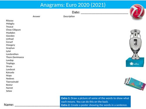 Football Euro 2020 Soccer Anagrams #2 Puzzle Sheet Activity Keywords PE Sports